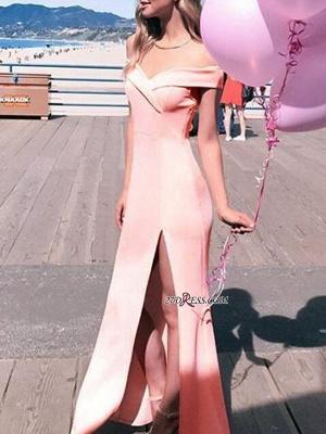 Sexy Sheath Off-The-Shoulder Side-Slit Long Prom Dress UKes UK_3