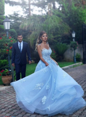 Baby Blue Luxury Sleeveless Evening Dress UK Long Tulle With lace Appliques BA7515_4