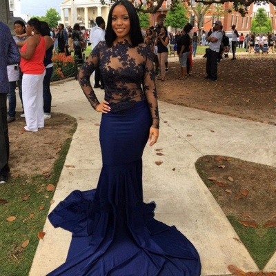 Navy Long-Sleeve Prom Dress UK | Lace Mermaid Evening Party Gowns_3