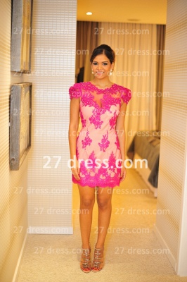 Formales Short Lace Prom Dress UKes UK New Arrival Cocktail Gowns Sexy Sleeves Sheer Fushcia Short Vestidos De Fiesta_6