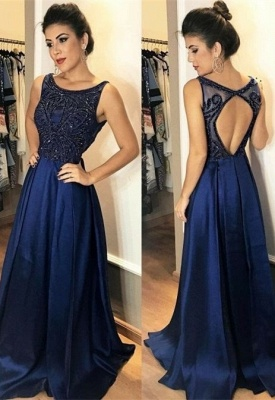 Sexy Sleeveless Navy Prom Dress UK Long Chiffon Party Gowns With Beads_1