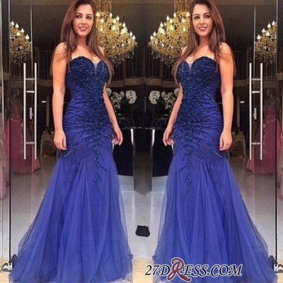 Mermaid Beads Delicate Sweetheart Tulle Sleeveless Prom Dress UK_1