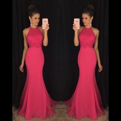 Elegant Halter Mermaid Lace Prom Dress UK Sweep Train AP0_2