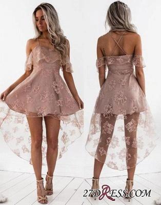 Short Hight-low Lace A-line Cute Homecoming Dress UK BA7000_2