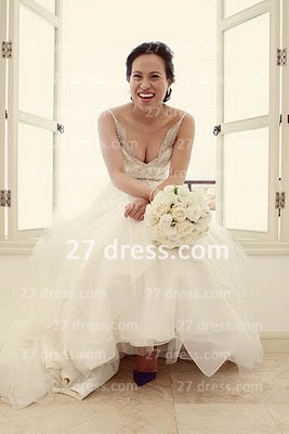 A-line Sequins Wedding Dresses UK Backless Spaghetti Straps Beaded Applique Court Train Formal Bridal Gown_3