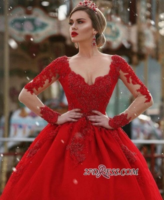 V-Neck Gorgeous Red Long Sleeve Lace Evening Dress BA7213_3