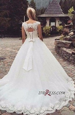 Lace-Up Back Capped-Sleeves Ball Gown Bow Wedding Dresses UK_2