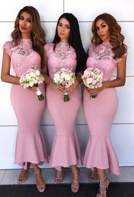 Pink Mermaid Bridesmaid Dress UK | Lace Cap Sleeve Wedding Reception Dress UK_1