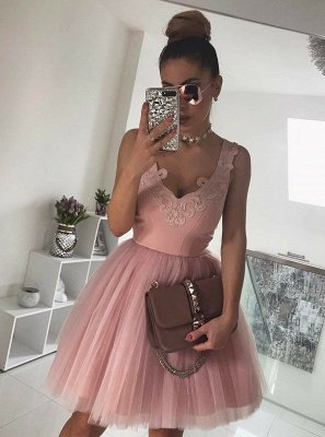 Newest Straps Sleeveless Lace Short Homecoming Dress UK | Mini Homecoming Gown_3