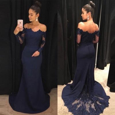 Navy Off-the-Shoulder Prom Dress UK | Lace Long Sleeve Evening Dress UK_3