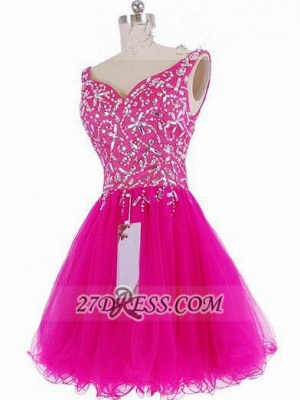 Luxurious Sweetheart Sleeveless Short Homecoming Dress UK Beadings Crystals Lace-up Fuchsia Cocktail Gown_1
