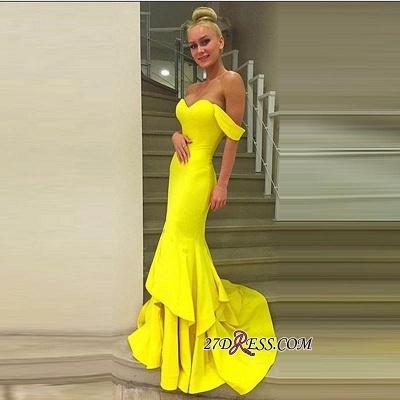 Off-the-Shoulder Elegant Sweep-Train Mermaid Prom Dress UK qq0248_1