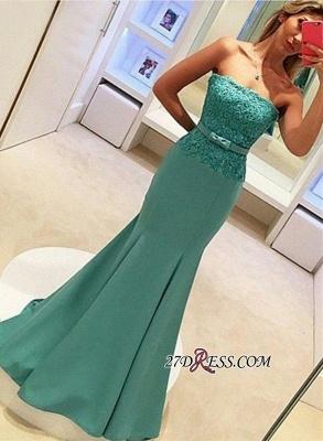 Strapless Lace Sleeveless Delicate Mermaid Bow Prom Dress UK_3