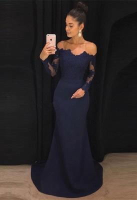 Navy Off-the-Shoulder Prom Dress UK | Lace Long Sleeve Evening Dress UK_1
