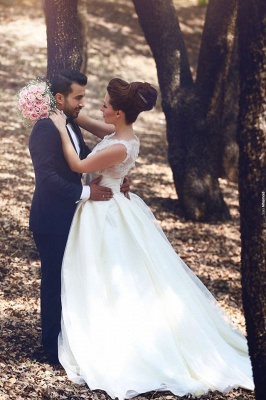 Elegant Ball Gown Illusion Wedding Dress Lace Appliques Sleeveless_4