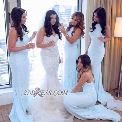 Sexy Sleeveless Mermaid Bridesmaid Dress UK Halter Floor-length On Sale_2