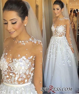 Appliques Lace Long Tulle Sleeve Long Charming Evening Dress UK_2