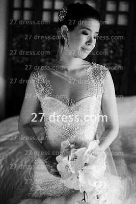 Bateau Wedding Dresses UK Bridal Gowns with Custom Made Backless Cap Sleeves Beaded Appliques Court Train A-line_1