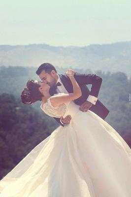 Elegant Ball Gown Illusion Wedding Dress Lace Appliques Sleeveless_3