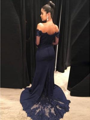 Navy Off-the-Shoulder Prom Dress UK | Lace Long Sleeve Evening Dress UK_4