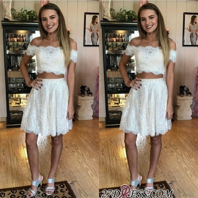 Lace Two-Piece Off-the-shoulder Delicate Short Homecoming Dress UK_2