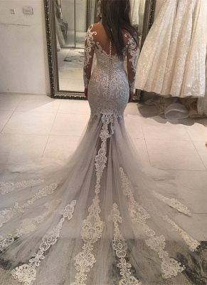 Long Sleeve Lace Wedding Dress | Sexy Mermaid Bridal Gowns On Sale_2