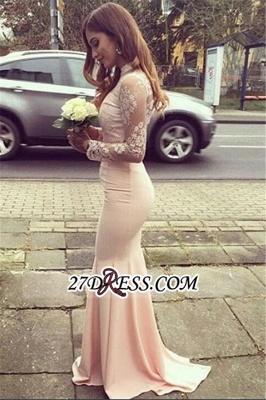 Gorgeous Appliques High-Neck Mermaid Long-Sleeves Bridesmaid Dress UKes UK BA4287_1