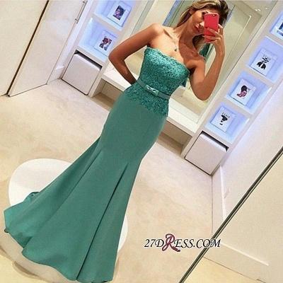 Strapless Lace Sleeveless Delicate Mermaid Bow Prom Dress UK_2
