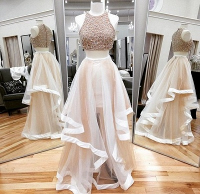 Gorgeous Halter Sleeveless Prom Dress UK With Beadings Ruffle Two Pieces_2