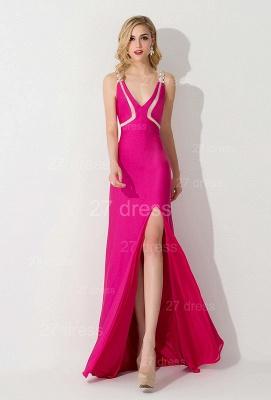 Elegant Front Split Bodycon Evening Dress UK Crystals Sweep Train_1