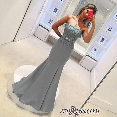 Strapless Lace Sleeveless Delicate Mermaid Bow Prom Dress UK_1