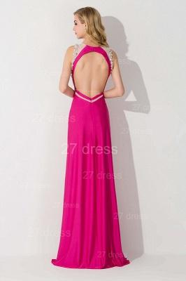 Elegant Front Split Bodycon Evening Dress UK Crystals Sweep Train_3
