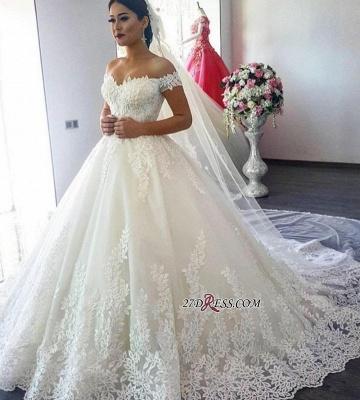 Short Sleeve A-Line Applique Lace Off-the-Shoulder Wedding Dress_3