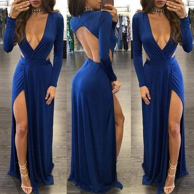 Sexy Royal Blue Long Sleeve Prom Dress UK Backless With Split On Sale BA7795_3