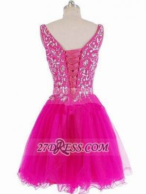 Luxurious Sweetheart Sleeveless Short Homecoming Dress UK Beadings Crystals Lace-up Fuchsia Cocktail Gown_3