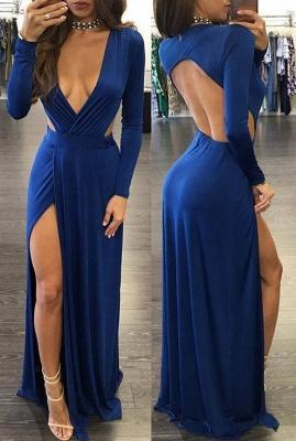 Sexy Royal Blue Long Sleeve Prom Dress UK Backless With Split On Sale BA7795_1