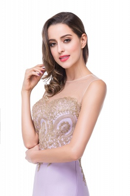 Elegant Illusion Appliques Mermaid Prom Dress UK Zipper Floor-length_5