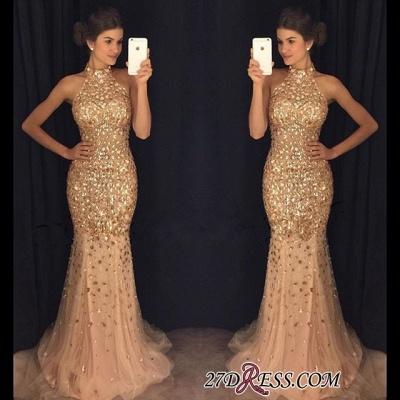 Newest Mermaid Crystals Sleeveless High-Neck Sweep-Train Prom Dress UK BA6613_1