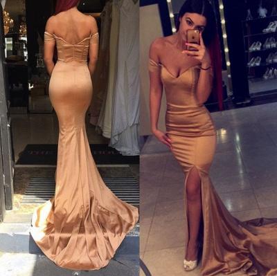 Elegant Off the Shoulder Mermaid Evening Dress UK Zipper Back Prom Gown_3