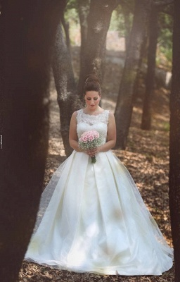 Elegant Ball Gown Illusion Wedding Dress Lace Appliques Sleeveless_6