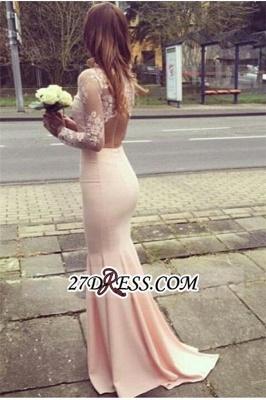 Gorgeous Appliques High-Neck Mermaid Long-Sleeves Bridesmaid Dress UKes UK BA4287_3