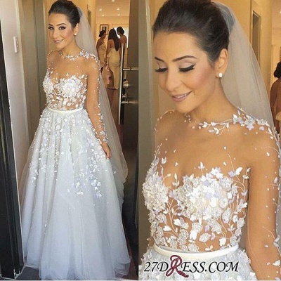 Appliques Lace Long Tulle Sleeve Long Charming Evening Dress UK_1