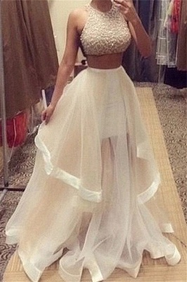 Gorgeous Halter Sleeveless Prom Dress UK With Beadings Ruffle Two Pieces_3