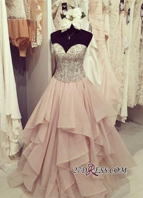 Sweetheart Floor-Length Beadings Luxury Ruffles Prom Dress UK_2
