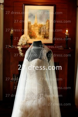 Bateau Wedding Dresses UK Bridal Gowns with Custom Made Backless Cap Sleeves Beaded Appliques Court Train A-line_4