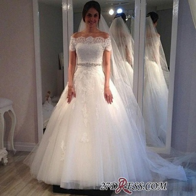 Off-the-shoulder Elegant Short-Sleeves Sweep-Train Lace A-line Wedding Dress_2