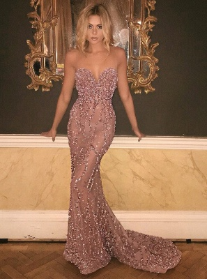 Gorgeous Sweetheart Prom Dress UK Long Mermaid With Beadings Sequins BA9506_1