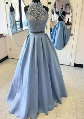 Two-pieces Blue Lace Long High-neck A-line Prom Dress UK_1