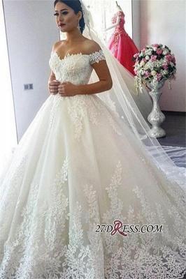 Short Sleeve A-Line Applique Lace Off-the-Shoulder Wedding Dress_4