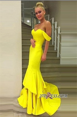 Off-the-Shoulder Elegant Sweep-Train Mermaid Prom Dress UK qq0248_4